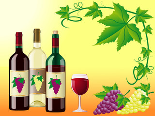 wine is red white with a grapes and decorative pattern of leaves