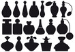 set of vintage perfume bottles, vector