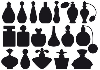 set of vintage perfume bottles, vector