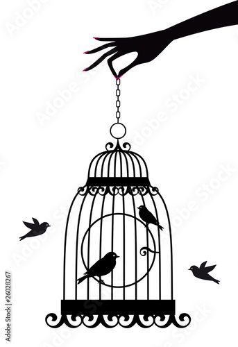 hand with birdcage, vector