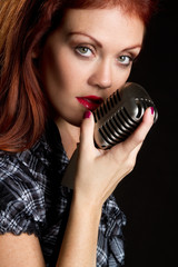 Vintage Microphone Singer