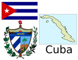 Cuba flag national emblem map