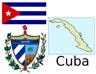 Cuba flag national emblem map