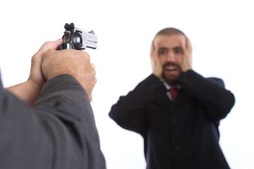 killer with gun and business man