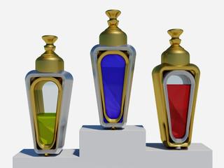 Drei Flacons mit Podest freigestellt