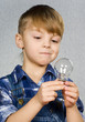 Boy and light bulb