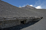 A house covered with ash,  Mount Etna, Sicily, Italy