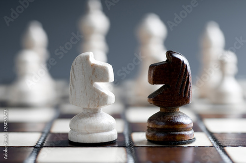 two wooden chess horses