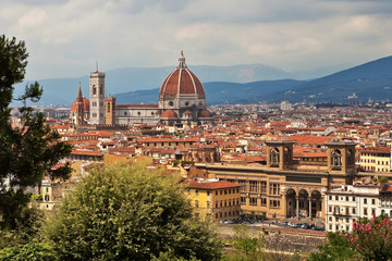Catherdral in Florence view over city skyline.