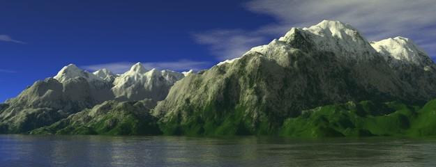Schöne Berglandschaft mit schneebedeckten Gipfeln