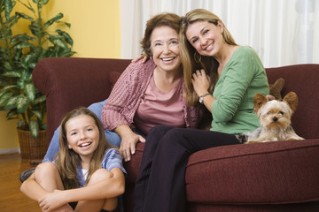 """Hispanic grandmother, mother and daughter bonding"""