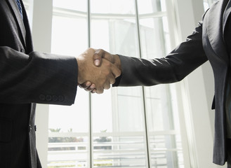 Close up of businesspeople shaking hands