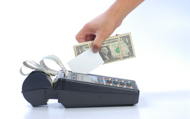 cash is coming out from credit card charging machine