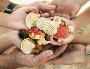 Family holding assortment of shells