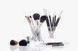 Studio shot of makeup and makeup brushes