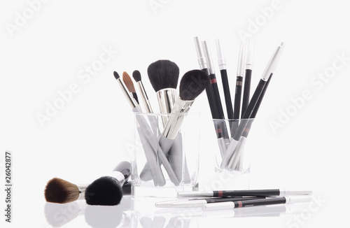 Studio shot of makeup and makeup brushes
