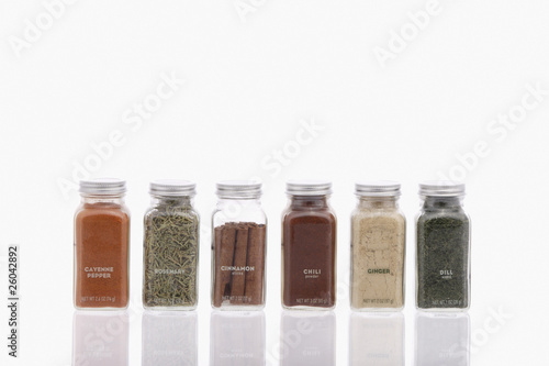 Studio shot of labeled spice jars