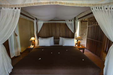 exotic bamboo hut bedroom
