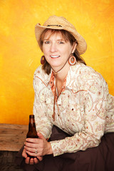 Pretty Western Woman with Beer