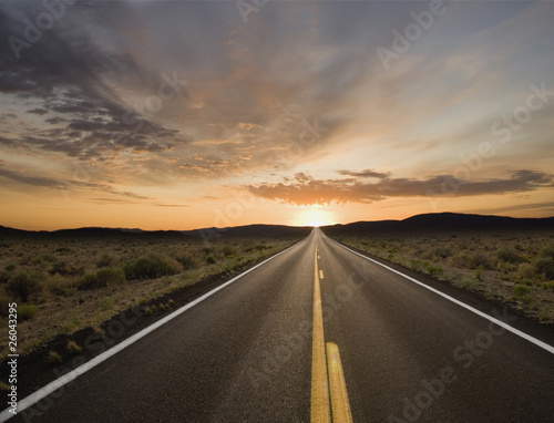 Remote road at dusk