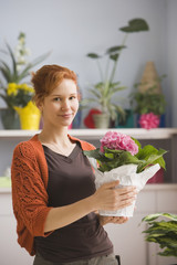Hispanic woman holding potted plant in florist shop