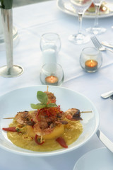 Shrimp entree on table