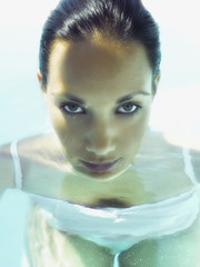 Pacific Islander woman in water