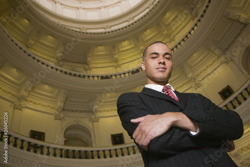 African businessman in capitol building