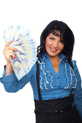 Attractive woman holding Romanian banknotes