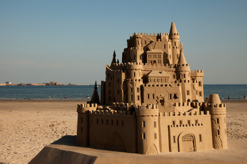 Sandcastle at St Aubin's Beach