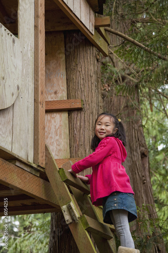 Korean girl climbing into tree house