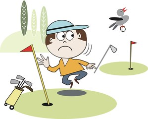 Annoyed golfer cartoon
