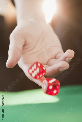 Woman throwing dice