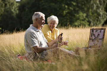A senior couple having a picnic, man opening a bottle