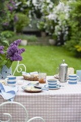 Breakfast table in back garden