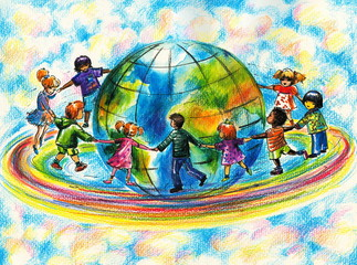 Children of different races hugging the planet Earth.