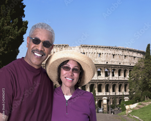 African couple standing outside Coliseum