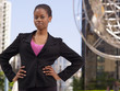 Confident African businesswoman with hands on hips