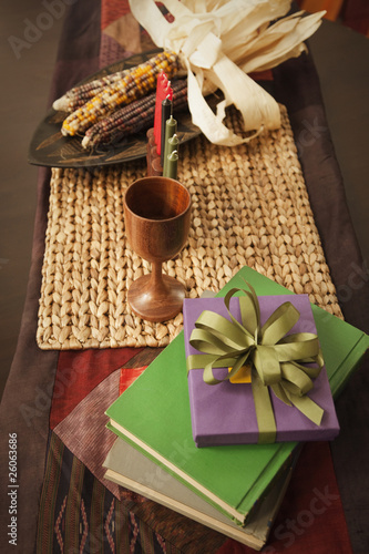 Kwanzaa items on table