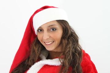 Eine junge attraktive Weihnachtsfrau