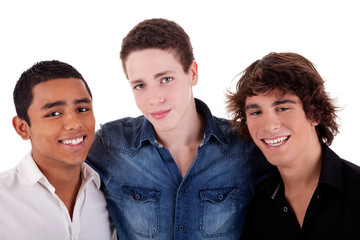 friends: three young man of different colors