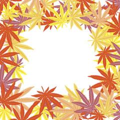 Frame with colored marijuana leaves