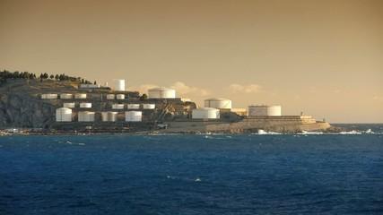 Oil tanks in harbor