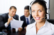 Portrait female support phone operator at workplace