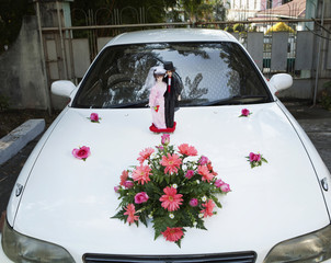 Bride and groom statuettes on hood of car