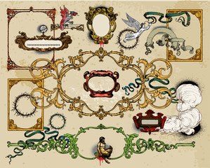 Antique frame decoration elements