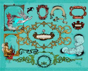 Antique frame decoration elements