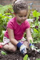 Mixed race girl planting in garden