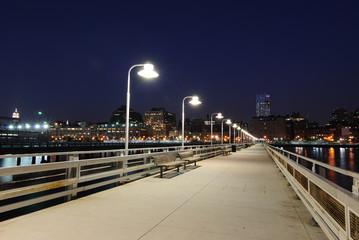 A Long Pier at Night