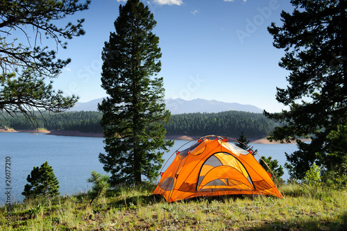 Tuinposter Kamperen Camping Tent by the Lake